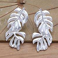 Sterling silver drop earrings, 'Tropical Leaf' - Handcrafted Balinese Sterling Silver Leaf Earrings