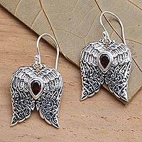 Garnet dangle earrings, 'Wings of Flight' - Artisan Crafted Balinese Silver Wings Earrings with Garnet