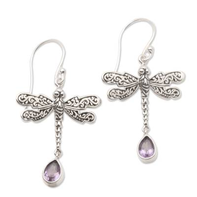Amethyst dangle earrings, 'Dragonfly Freedom' - Artisan Crafted Balinese Silver Earrings with Amethyst