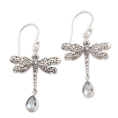 Blue topaz dangle earrings, 'Dragonfly Freedom' - Artisan Crafted Balinese Silver Earrings with Blue Topaz