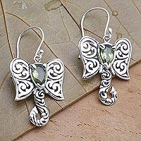 Peridot dangle earrings, 'Elephant Fancy' - Artisan Crafted Balinese Silver Elephant Peridot Earrings