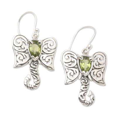 Peridot dangle earrings, 'Elephant Fancy' - Artisan Crafted Balinese Silver Elephant Peridot Earrings