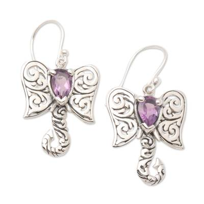 Amethyst dangle earrings, 'Elephant Fancy' - Artisan Crafted Balinese Silver Elephant Amethyst Earrings