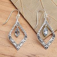 Blue topaz dangle earrings, 'Island Queen' - Sterling Silver and Blue Topaz Fair Trade Balinese Earrings