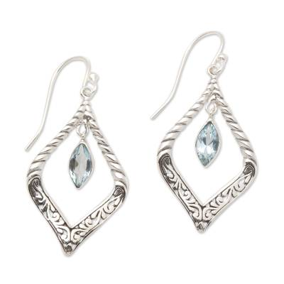 Sterling Silver and Blue Topaz Fair Trade Balinese Earrings