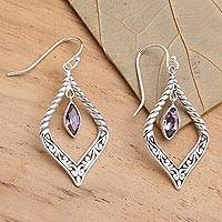 Amethyst dangle earrings, 'Island Queen' - Sterling Silver and Amethyst Fair Trade Balinese Earrings