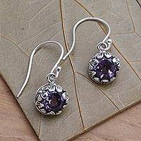 Amethyst dangle earrings, 'Petite Frangipani Flowers' - Petite Amethyst Floral Earrings in Sterling Silver