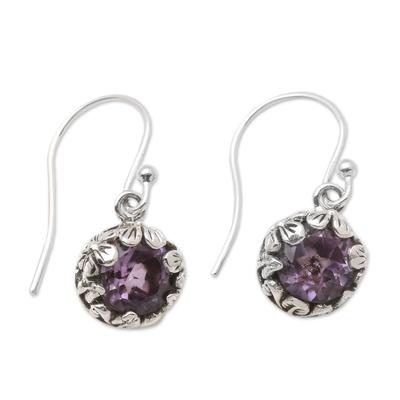 Amethyst dangle earrings, 'Petite Frangipani Flowers' - Petite Amethyst Floral Earrings in Sterling Silver