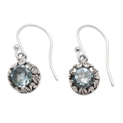 Blue topaz dangle earrings, 'Petite Frangipani Flowers' - Petite Blue Topaz Floral Earrings in Sterling Silver
