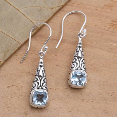 Blue topaz dangle earrings, 'Expression of Joy' - Balinese Fair Trade Silver and Blue Topaz Earrings