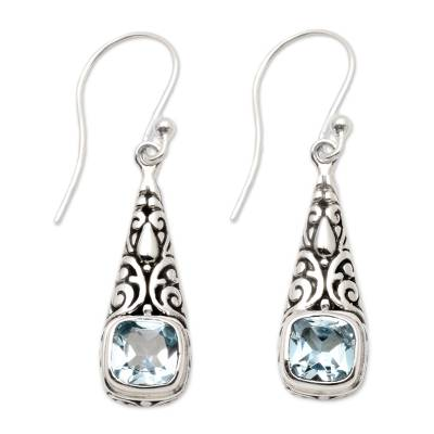 Balinese Fair Trade Silver and Blue Topaz Earrings