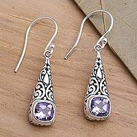 Amethyst dangle earrings, 'Expression of Joy' - Balinese Fair Trade Silver and Amethyst Earrings