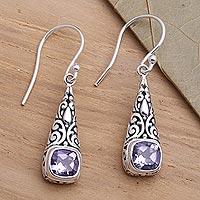 Amethyst dangle earrings, 'Expression of Joy' - Balinese Fair Trade Silver and Amethyst Earrings