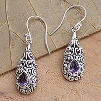 Amethyst dangle earrings, 'Violet Raindrop' - Sterling Silver Dangle Earrings with Amethyst Teardrops