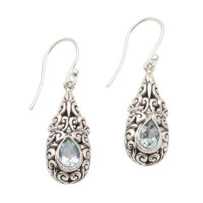 Sterling Silver Dangle Earrings with Blue Topaz Teardrops