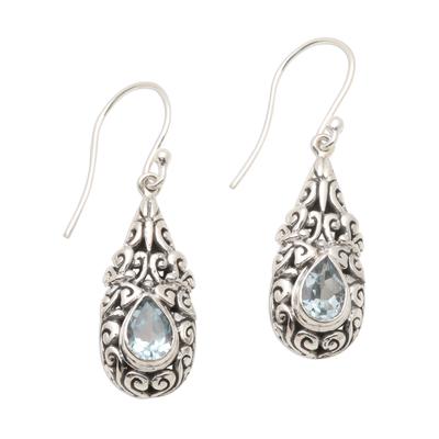 Blue topaz dangle earrings, 'Azure Raindrop' - Sterling Silver Dangle Earrings with Blue Topaz Teardrops