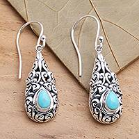 Amazonite dangle earrings, 'Heavenly Raindrop'