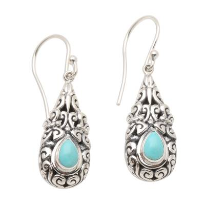 Sterling Silver Dangle Earrings with Amazonite Teardrops