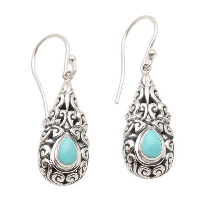 Amazonite dangle earrings, 'Heavenly Raindrop' - Sterling Silver Dangle Earrings with Amazonite Teardrops