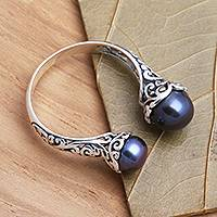 Cultured pearl wrap ring, 'Peacock Seeking You' - Cultured Peacock Pearl and Sterling Silver Ring from Bali