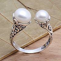 Cultured pearl wrap ring, 'Seeking You' - White Cultured Pearl and Sterling Silver Ring from Bali