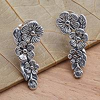 Sterling silver climber earrings, 'Tropical Allamanda' - Modern Balinese Sterling Silver Floral Ear Climber Earrings