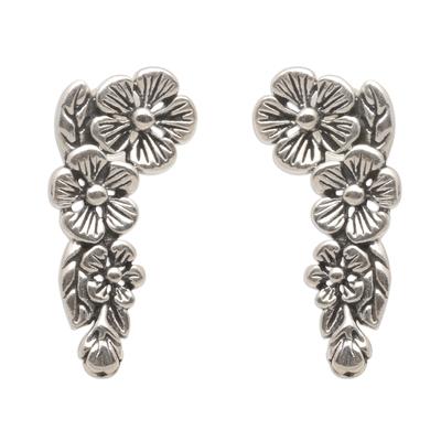 Sterling silver climber earrings, 'Tropical Allamanda' - Modern Balinese Sterling Silver Floral Ear Climber Earrings
