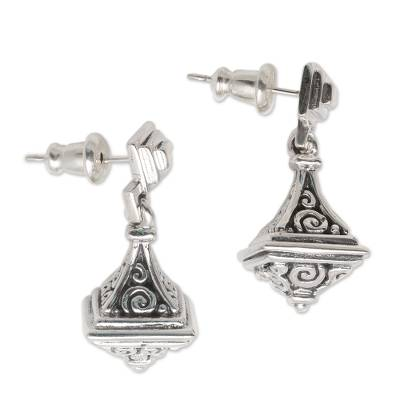 Handmade Buddha Curl Motif Sterling Silver Dangle Earrings