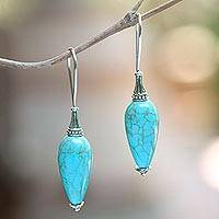 Sterling silver drop earrings, 'Palace Fountain' - Blue Reconstituted Turquoise and Silver Earrings from Bali