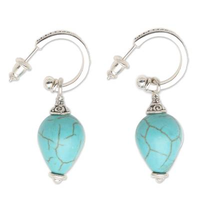 Sterling silver dangle earrings, 'Bogor Lanterns' - Silver and Blue Reconstituted Turquoise Earrings from Bali