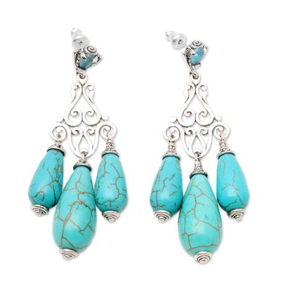 Blue topaz chandelier earrings, 'Lovely Lyre' - Silver and Blue Reconstituted Turquoise Earrings from Bali