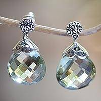 Prasiolite dangle earrings, 'Dazzling' - Silver Earrings from Bali Featuring 10 Carats of Prasiolite