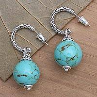 Sterling silver dangle earrings, 'Serene Planet' - Ornate Sterling Silver Earrings with Reconstituted Turquoise