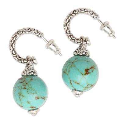 Sterling silver dangle earrings, 'Serene Planet' - Ornate Sterling Silver Earrings with Reconstituted Turquoise