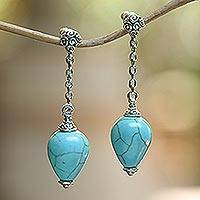 Sterling silver dangle earrings, 'Blue Censer' - Sterling Silver Earrings with Blue Reconstituted Turquoise