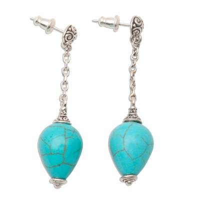 Sterling Silver Earrings with Blue Reconstituted Turquoise
