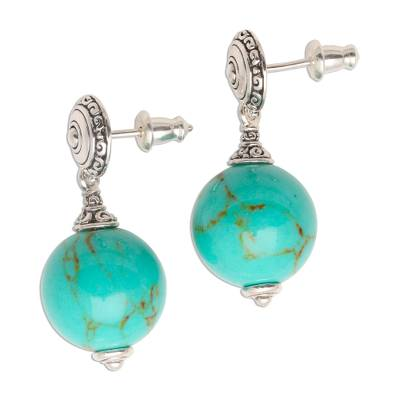 Handmade Silver Dangle Earrings with Reconstituted Turquoise