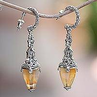 Carnelian dangle earrings, 'Temple Lantern'