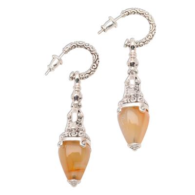 Carnelian dangle earrings, 'Temple Lantern' - Sterling Silver and Carnelian Earrings  Handcrafted in Bali
