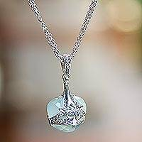 Chalcedony pendant necklace, 'Quiet Love' - Sterling Silver and Aqua Chalcedony Pendant Necklace