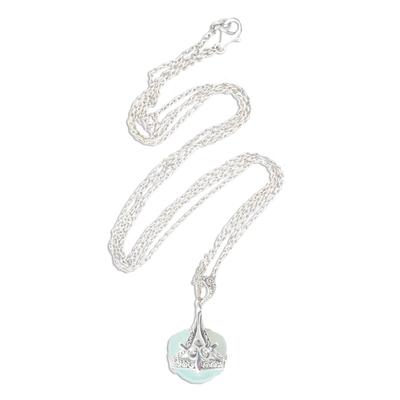 Chalcedony pendant necklace, 'Quiet Love' - Sterling Silver and Aqua Chalcedony Pendant Necklace