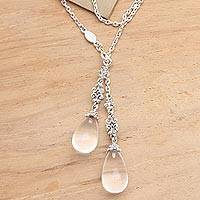 Quartz long lariat necklace, 'Crystal Serenade' - Long Sterling Silver Lariat Necklace with Crystal Quartz