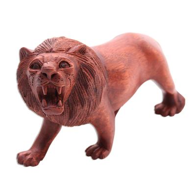 Fair Trade Hand Carved Lion Sculpture