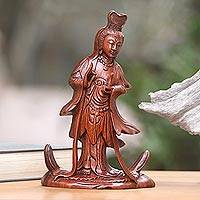 Wood sculpture, 'Goddess Kwan Im' - Hand Carved Balinese Signed Kwan Im Goddess Sculpture