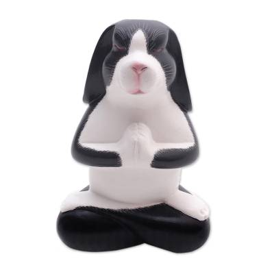 Wood sculpture, 'Praying Beagle' - Meditating Beagle Wood Sculpture from Bali