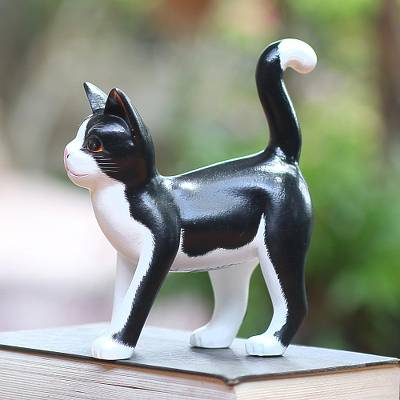 Wood sculpture, 'Curious Tuxedo Cat' - Balinese Signed Hand-Carved Tuxedo Cat Sculpture