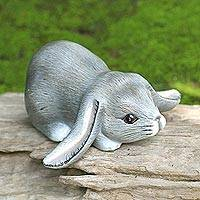 Wood sculpture, 'Grey Lop-Eared Bunny' - Balinese Signed Grey Lop-Eared Rabbit Sculpture