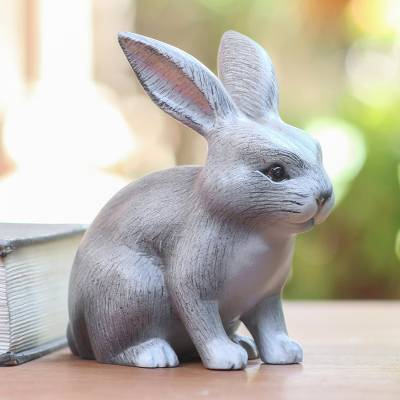 Wood sculpture, 'Inquisitive Grey Rabbit' - Balinese Signed Grey Bunny Rabbit Wood Sculpture