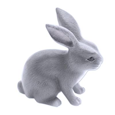 Wood sculpture, 'Inquisitive Grey Rabbit' - Balinese Signed Grey Bunny Rabbit Wood Sculpture