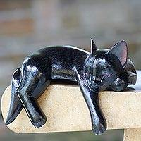 Wood sculpture, 'Black Catnap'